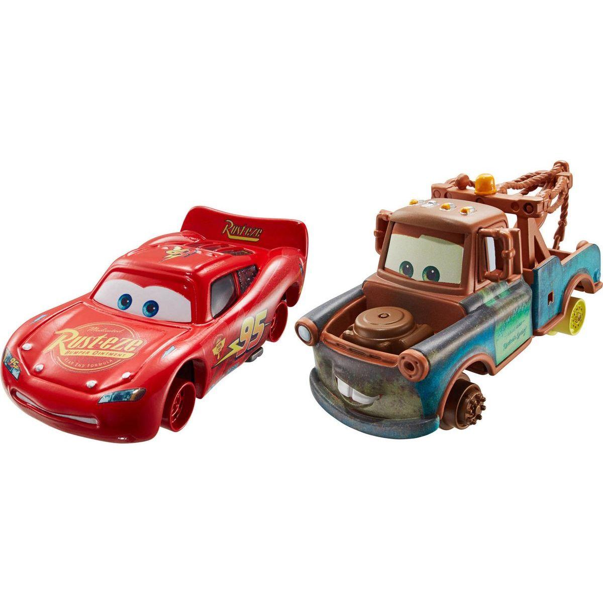 Cars 2 autíčka 2ks Mattel Y0506 - Burák a Blesk McQueen bez pneumatik