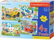 Castorland Puzzle 4 v 1 Veselá vozidla