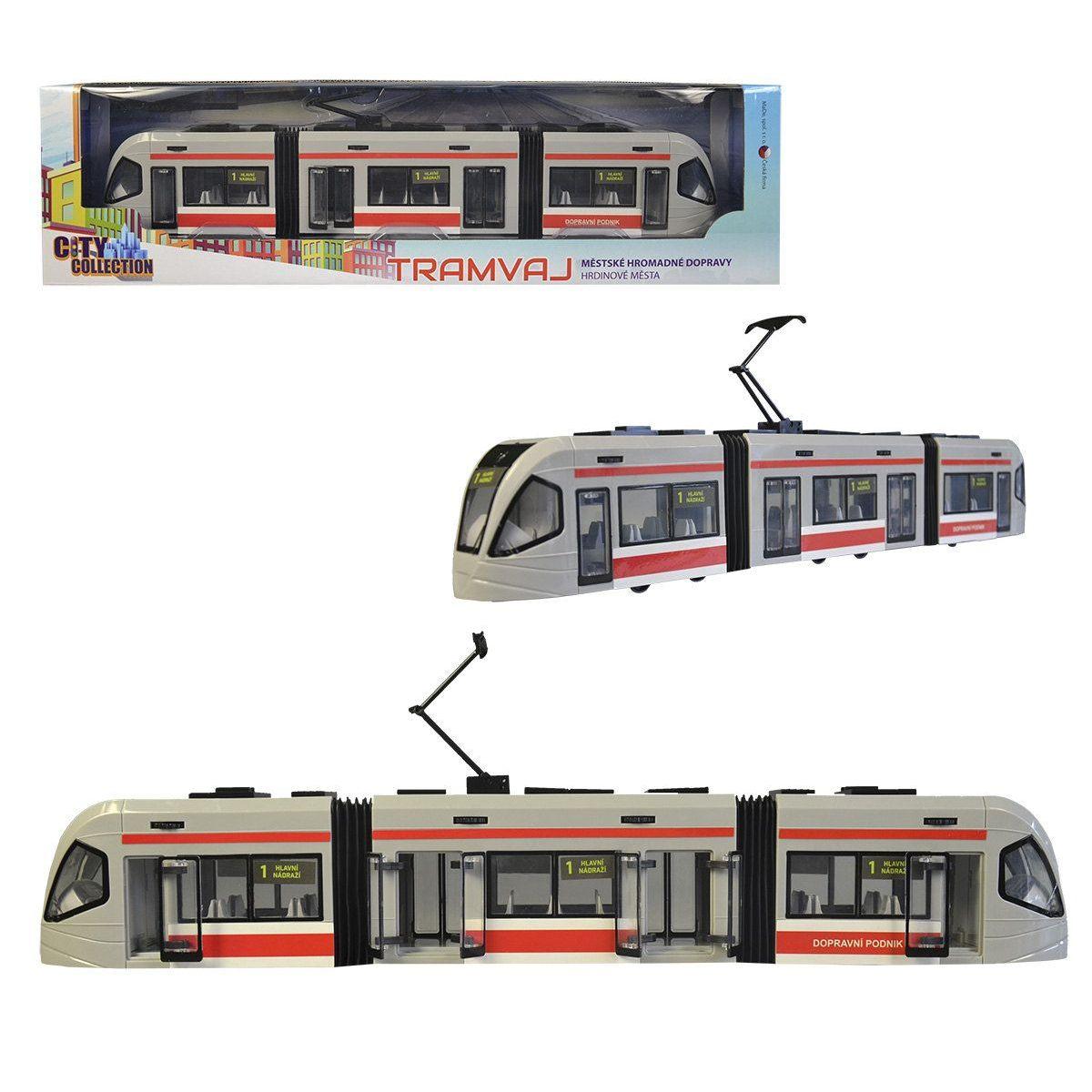 Česká tramvaj s otvírací dveřmi a volnými koly