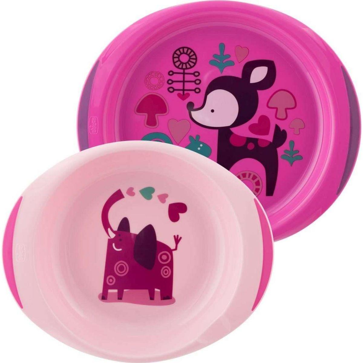 Chicco Jídelní sada talíř a miska růžová