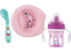 Chicco Jídelní set talíř, lžička a hrnek růžový