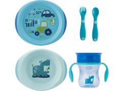 Chicco Jídelní set talíř, příbor a hrnek modrý
