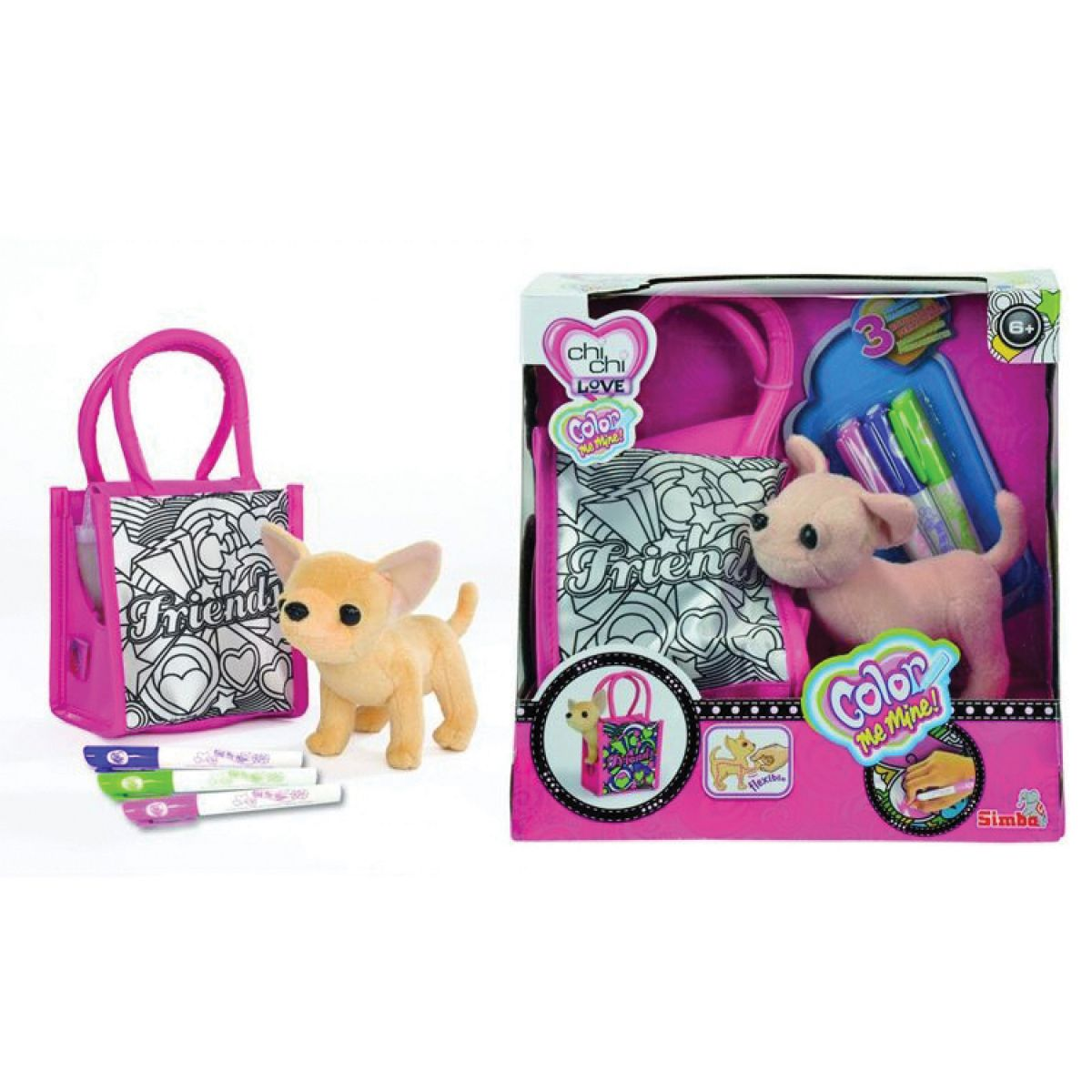 ChiChi Love Pejsek s taškou Color Me Mine II.