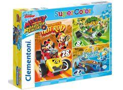 Clementoni Disney Mickey závodník Puzzle Supercolor 3 x 48 dílků