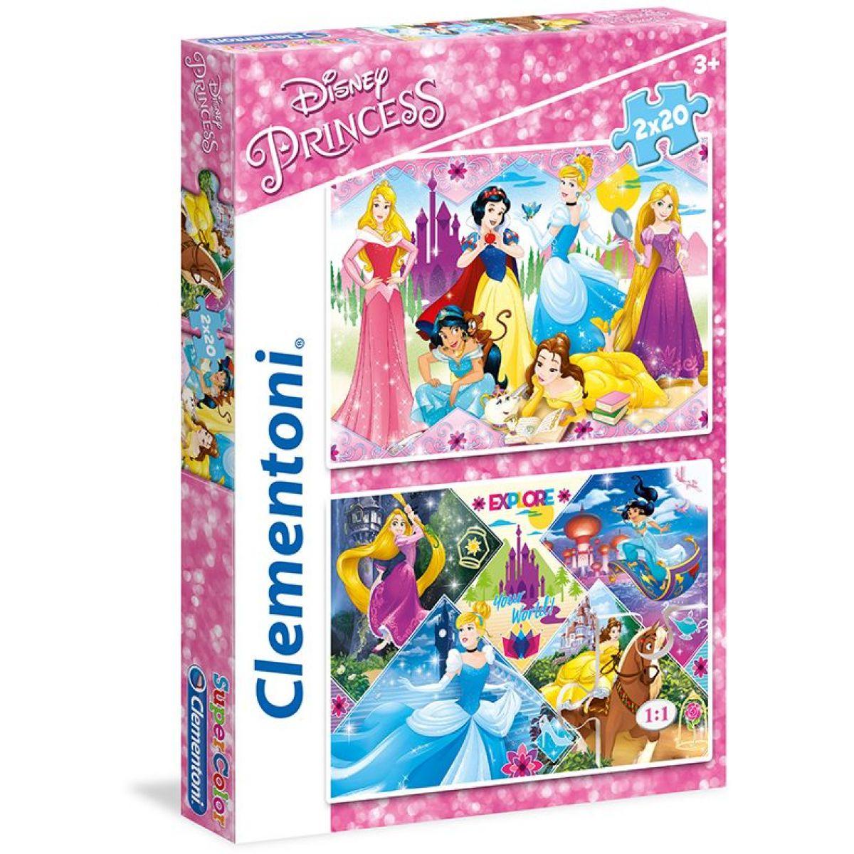 Clementoni Disney Puzzle Princezny Supercolor 2 x 20 dílků