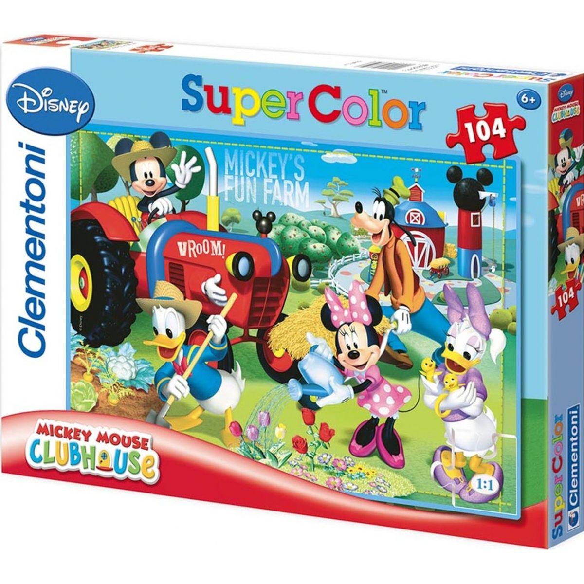 Clementoni Disney Supercolor Mickeys Fun Farm Puzzle 104d