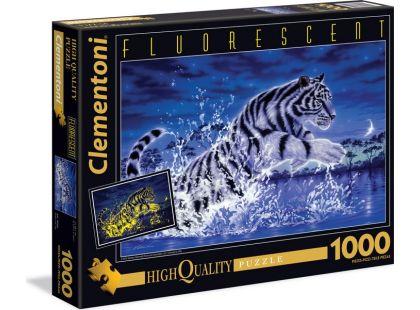 Clementoni Puzzle Fluorescentní Bílý tygr 1000d