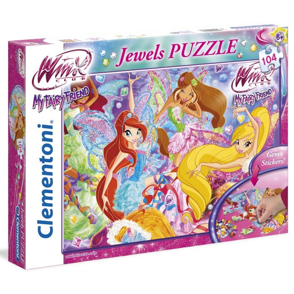 Clementoni Puzzle Winx víly s drahokamy 104 dílků
