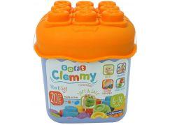 Clemmy baby 20 barevných kostek v kyblíku oranžové víko