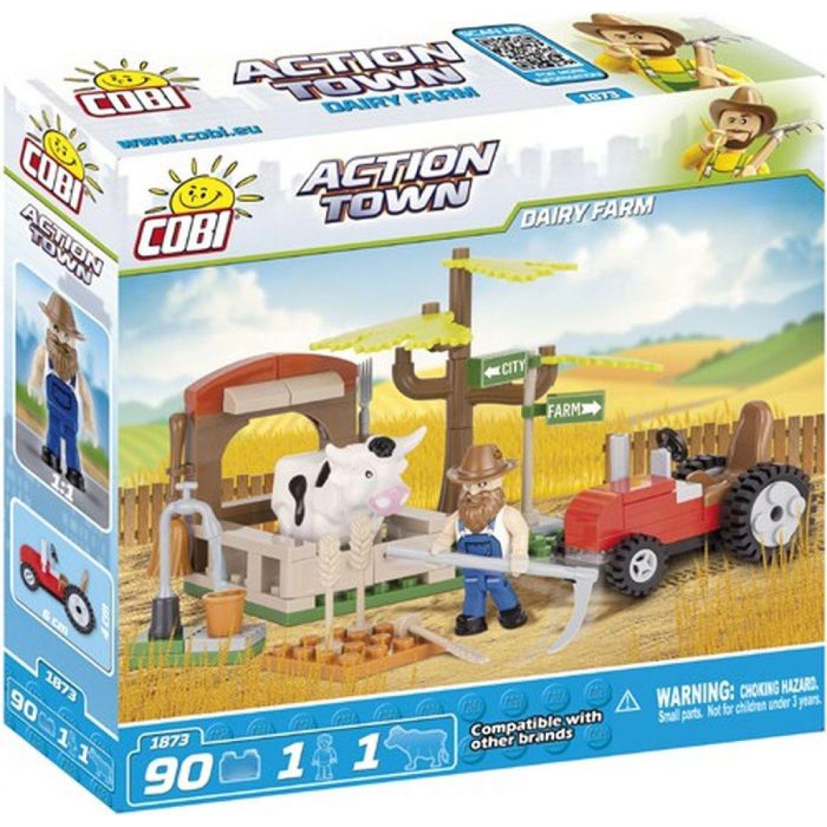 Cobi Action Town 1873 Farma traktor a kráva