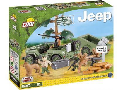 Cobi Malá armáda 24192 JEEP Willys MB s nákladním přívěsem