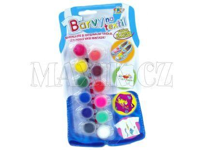 Creatoys Barvy na textil 12ks+štětec