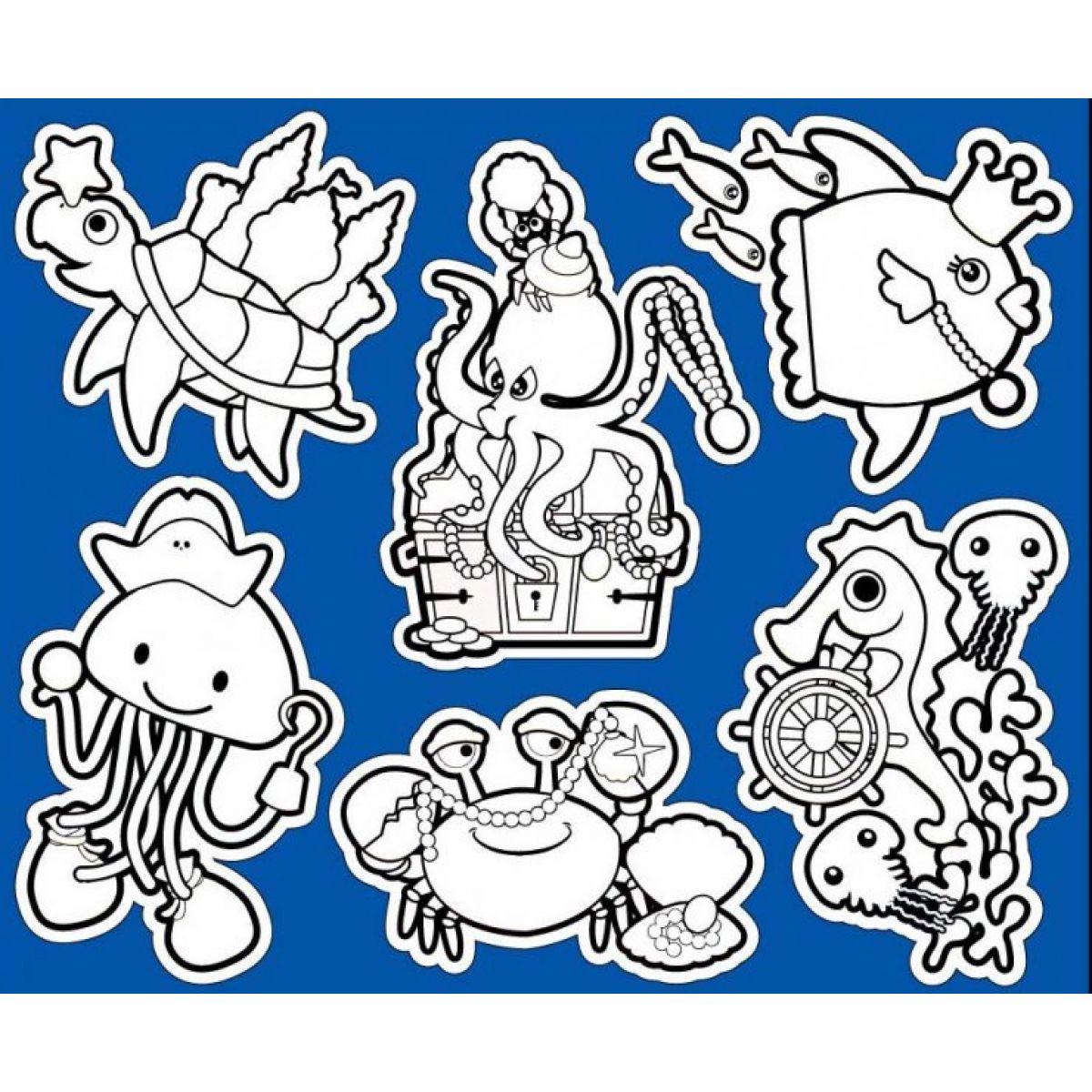 Creatoys Koupelnové samolepky 30x25cm želva a chobotnice