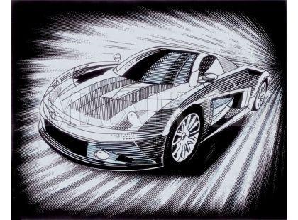 Creatoys Reeves Škrábací obrázek stříbrný 20x25cm - Auto