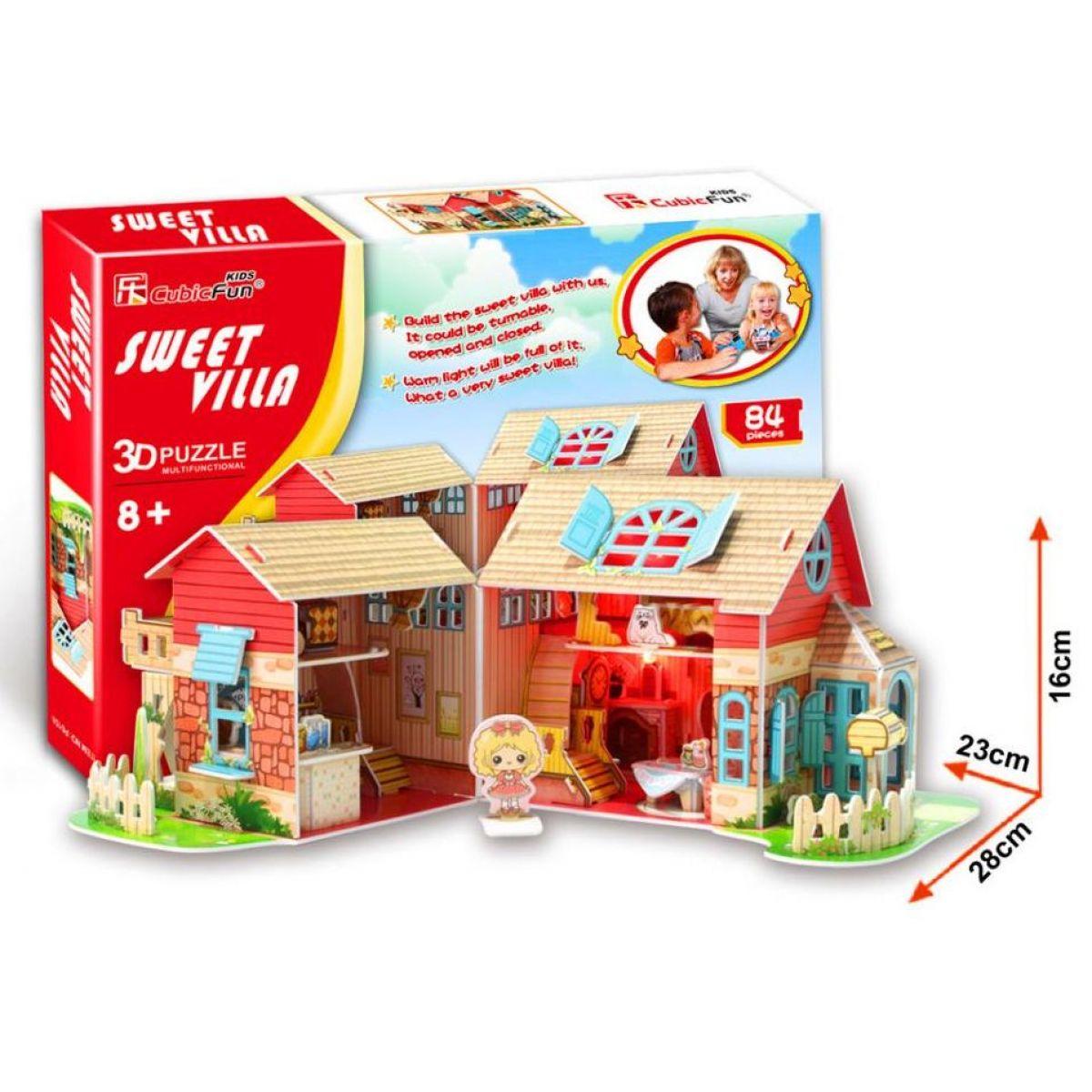 CubicFun Puzzle 3D Dům Sladká vila Led 84 dílků