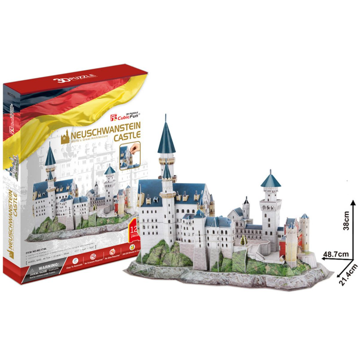 CubicFun Puzzle 3D Zámek Neuschwanstein 128 dílků