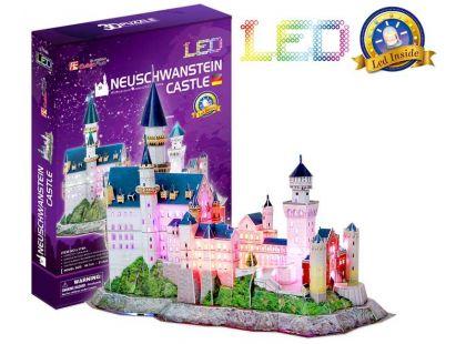 CubicFun Puzzle 3D Zámek Neuschwanstein LED 128 dílků