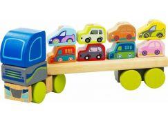 CUBIKA 13418 Kamion s auty dřevěná skládačka
