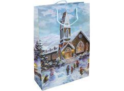 Dárková taška L 30 x 44 x 12 cm Vánoce kostel