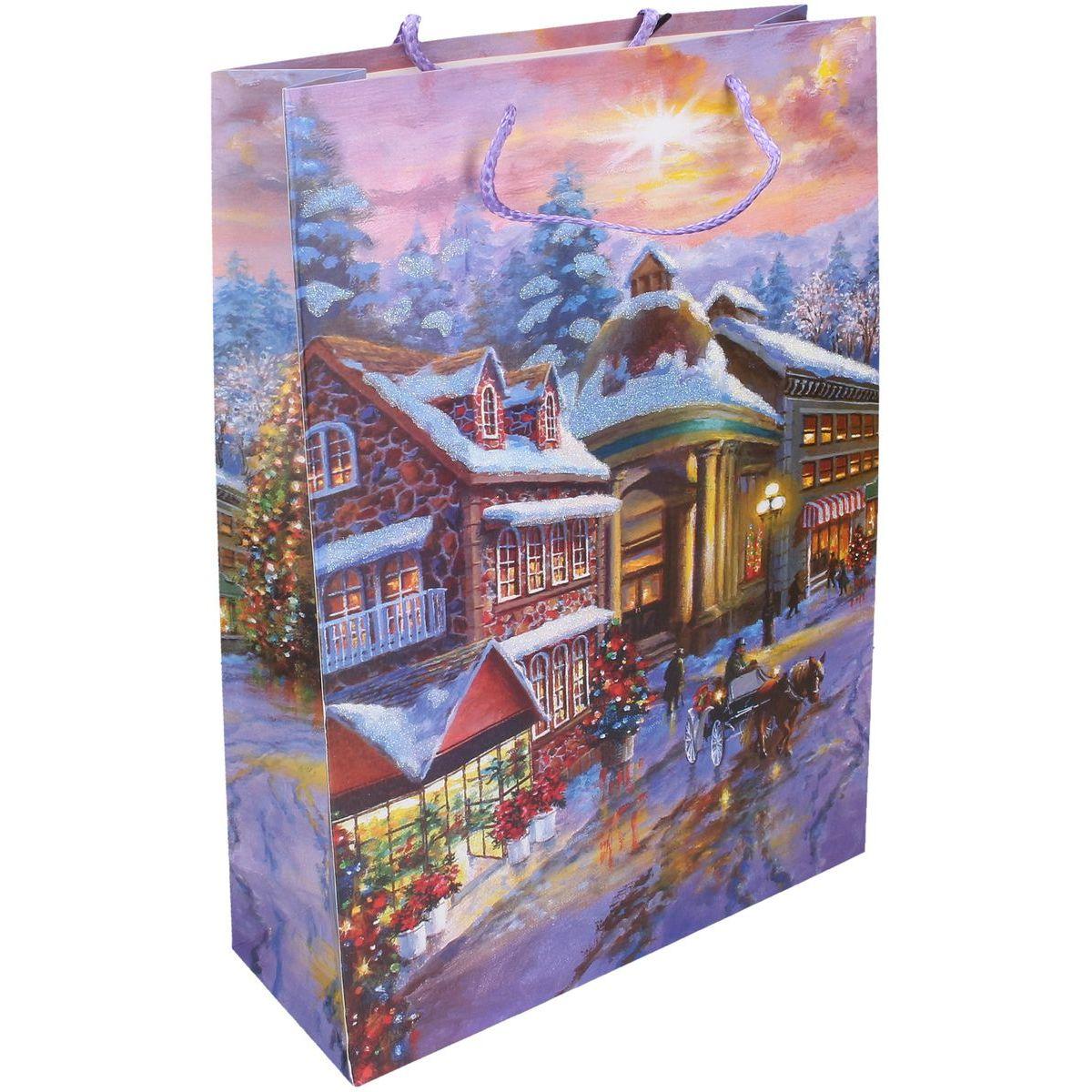 Dárková taška L 30 x 44 x 12 cm Vánoce náměstí