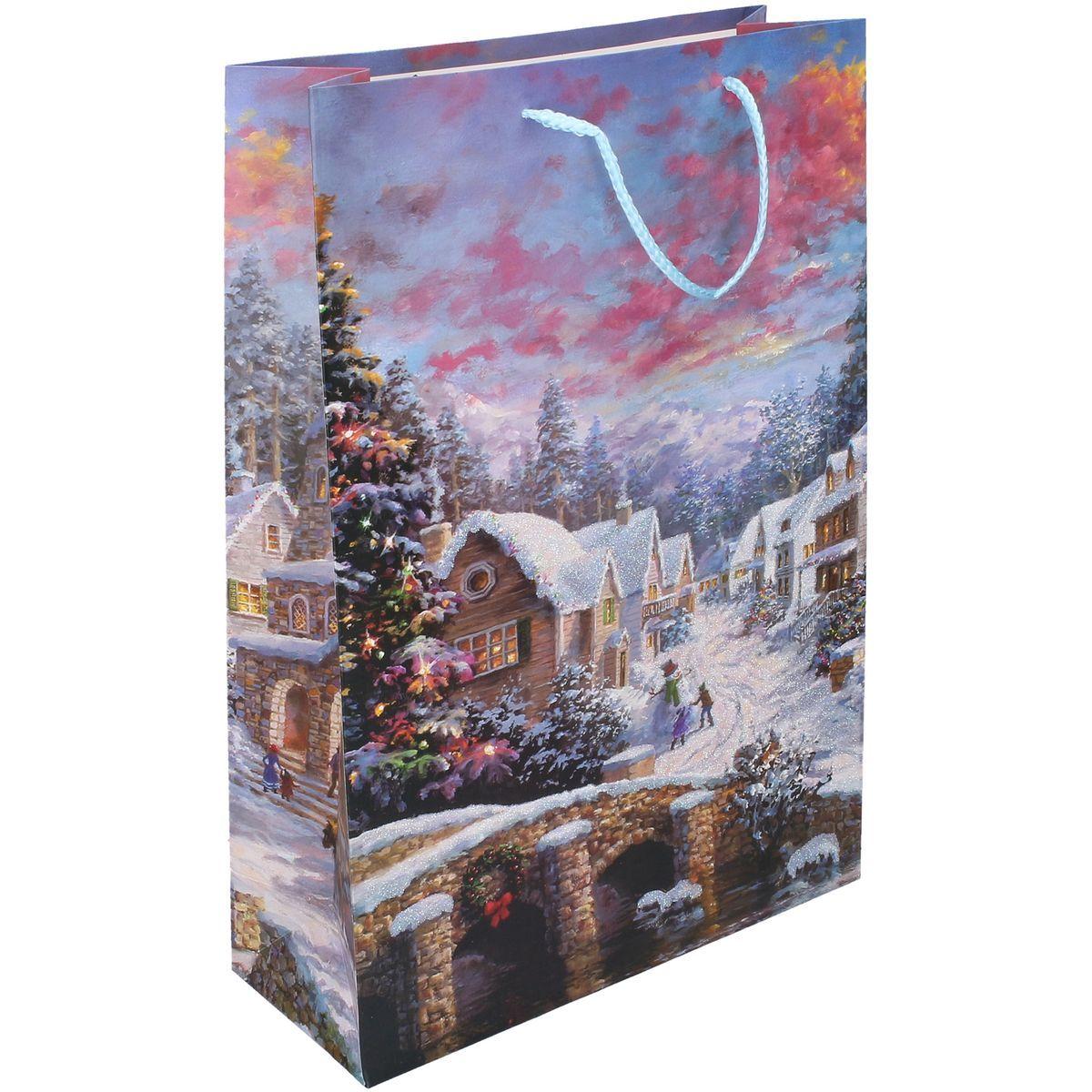Dárková taška L 30 x 44 x 12 cm Vánoce vesnice