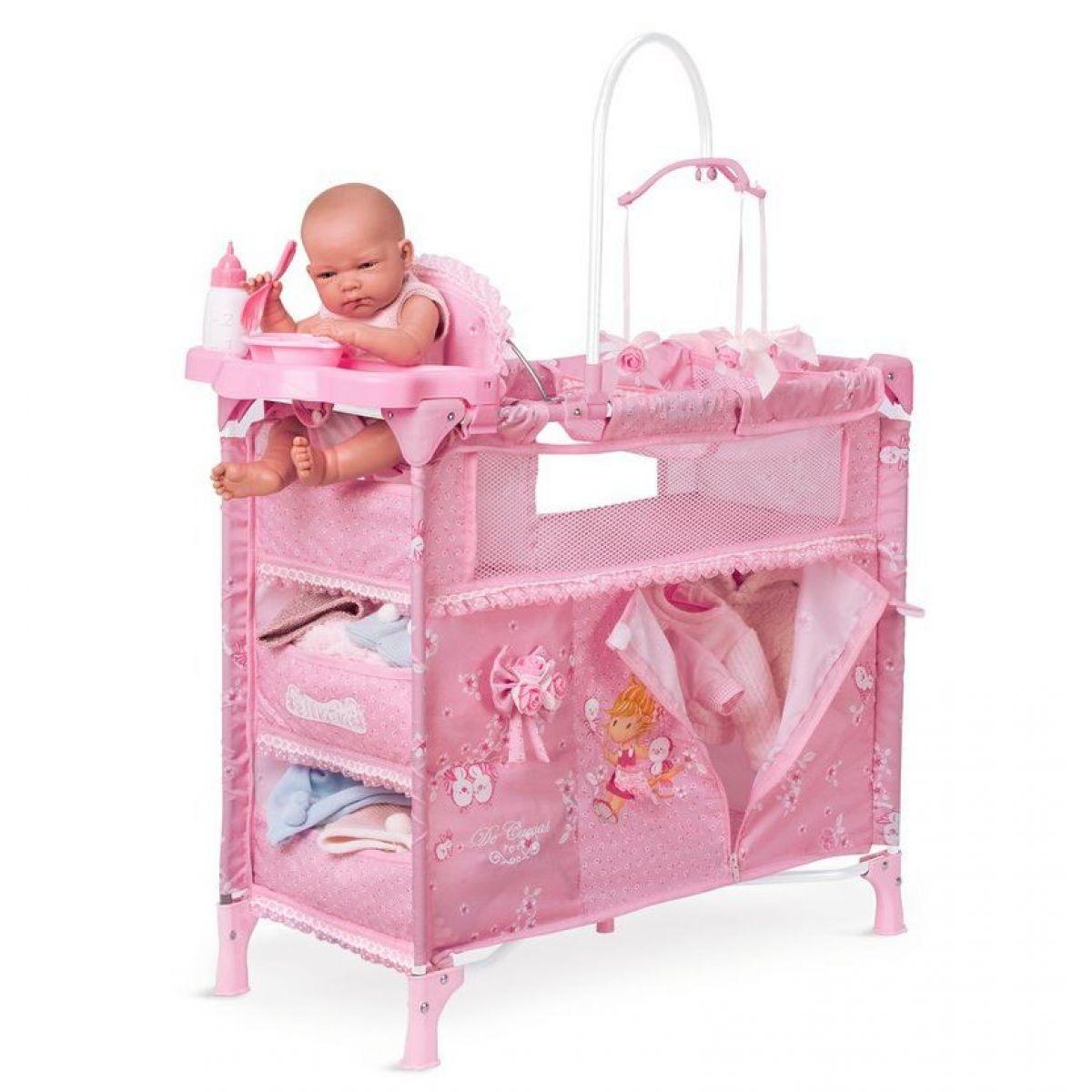 DeCueavas Skládací postýlka pro panenky s 5 funkčními doplňky Maria 2018