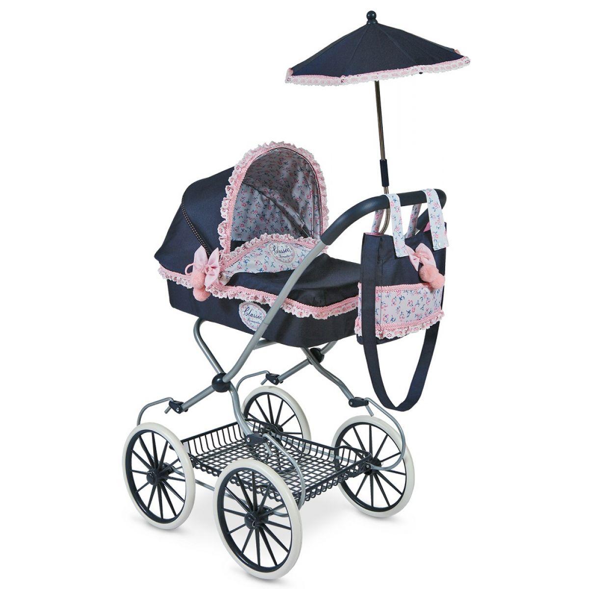 DeCuevas Kočárek pro panenky hluboký s deštníkem Clasic Romantik