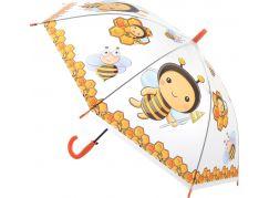 Deštník zvířátka průhledný vystřelovací včeličky