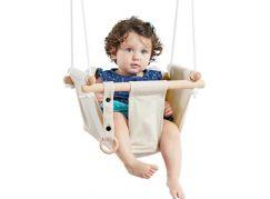 Dětská textilní houpačka bavlněná béžová