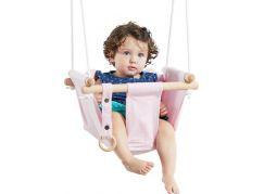 Dětská textilní houpačka bavlněná růžová