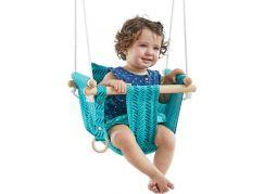 Dětská textilní houpačka bavlněná tyrkysová