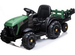 Dětské elektrický traktor s přívěsem 12V dva motory MP3