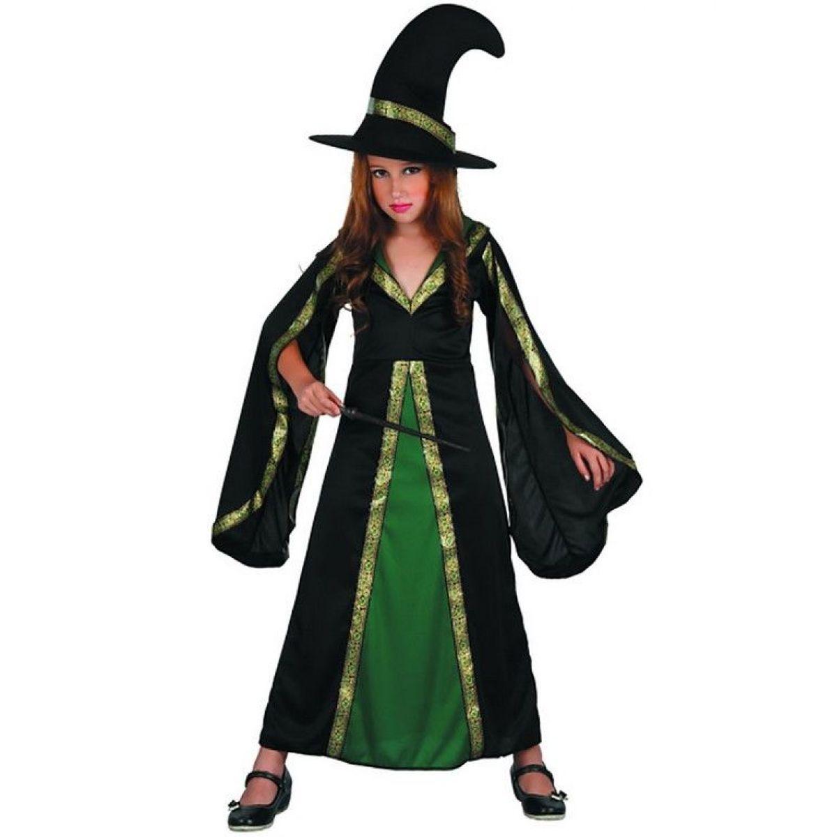 Dětské šaty na karneval čarodějka 120-130 cm