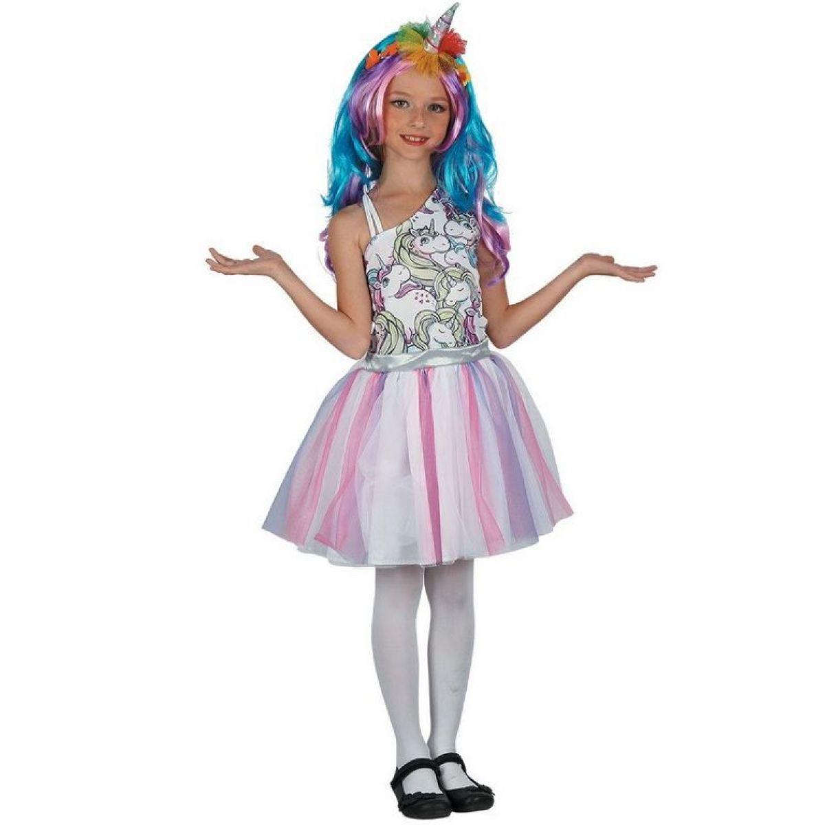 Dětské šaty na karneval jednorožec 120 - 130 cm