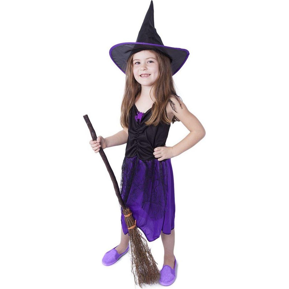 Rappa Dětský kostým Čarodějnice s kloboukem fialové vel. S