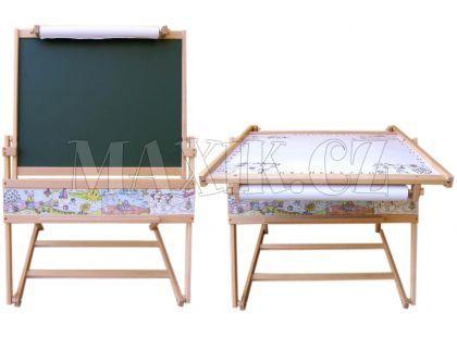 Dřevěné hračky Jaroš Dřevěná magnetická tabule a stolek 2v1