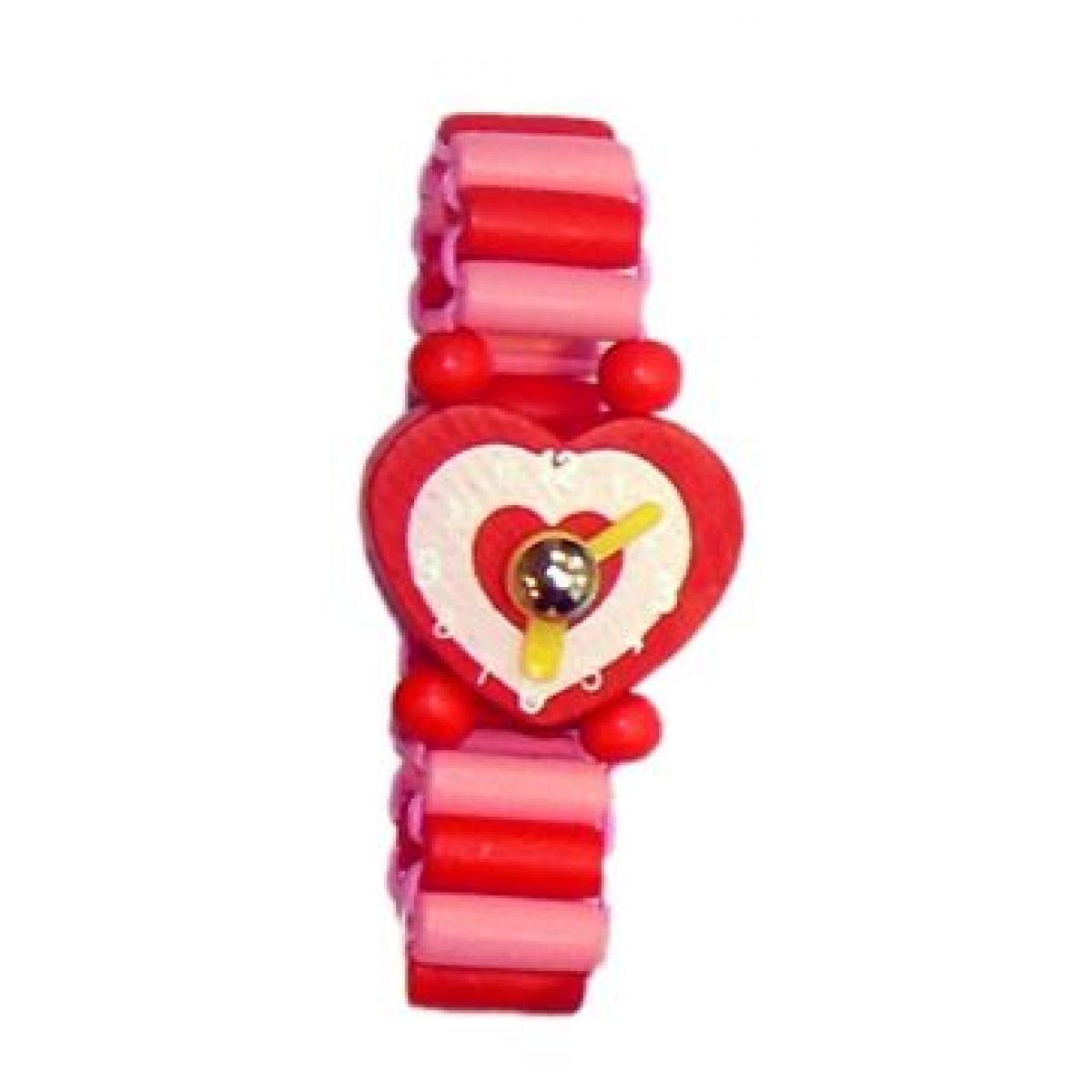Dřevěné náramkové hodinky - Růžovo-červená