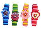 Dřevěné náramkové hodinky - Růžovo-červená 2