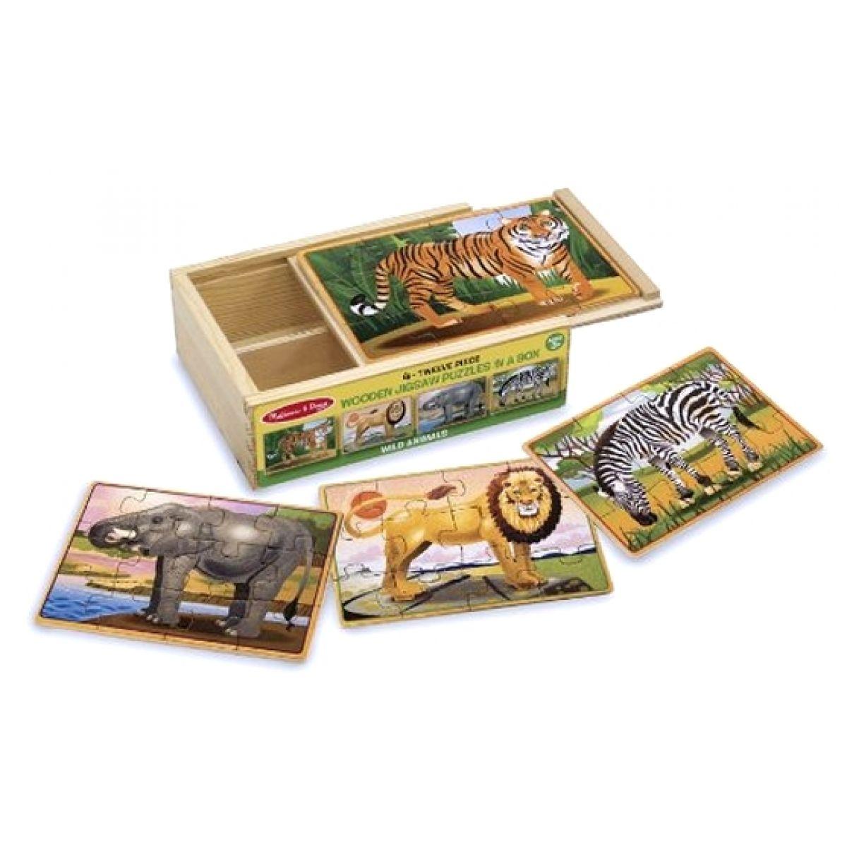 Dřevěné puzzle Africká zvířata 4v1