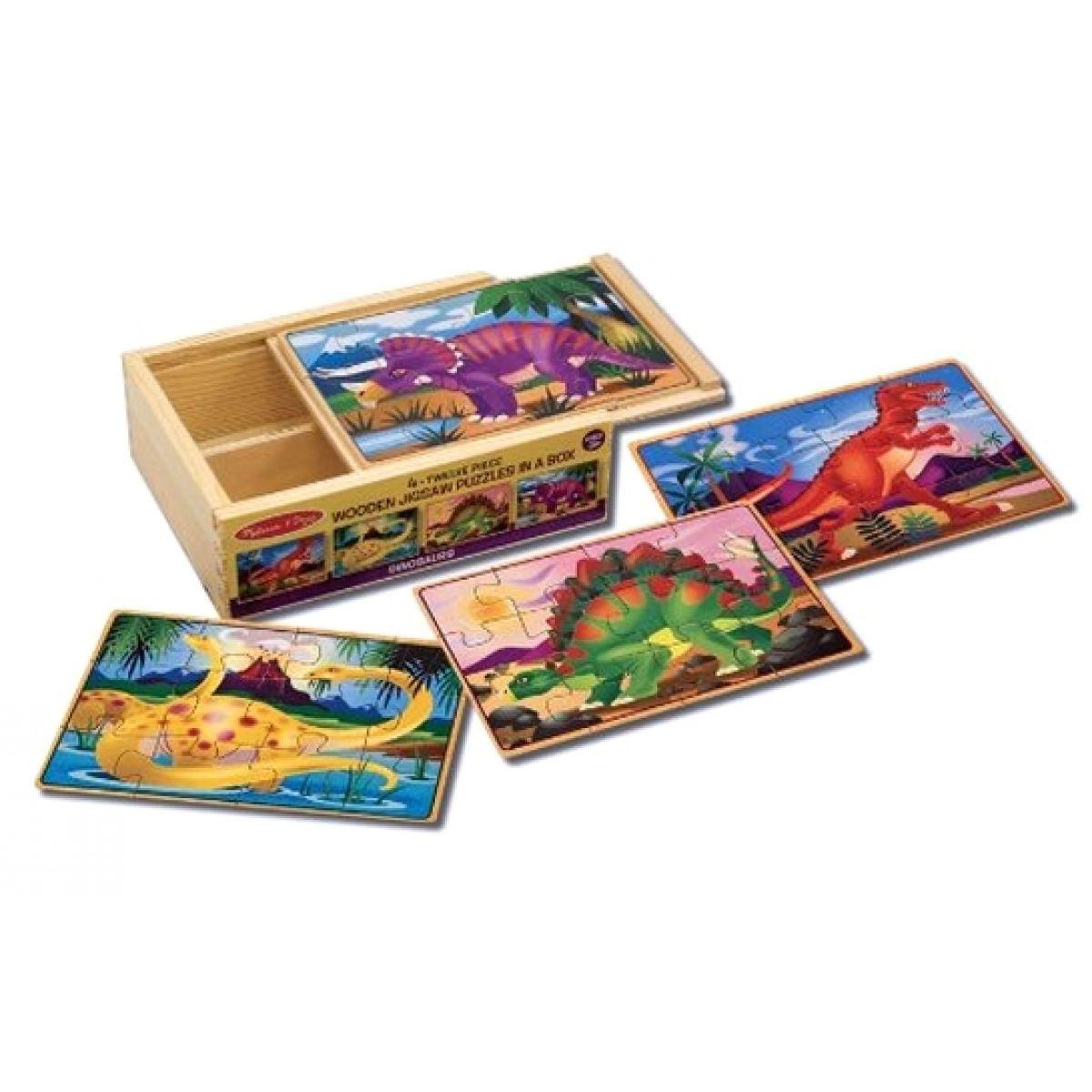 Dřevěné puzzle Dinosauři 4v1