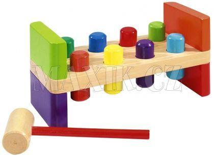 Dřevěný stůl na zatloukání kladívkem 10dílů