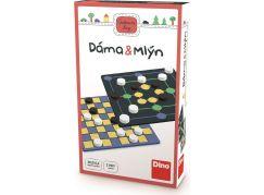 Dino Dáma a mlýn cestovní hra