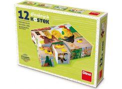 Dino Domácí zvířátka 12 dílků dřevěné kostky