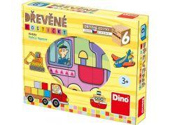 Dino Dopravní prostředky 6 dřevěných kostek