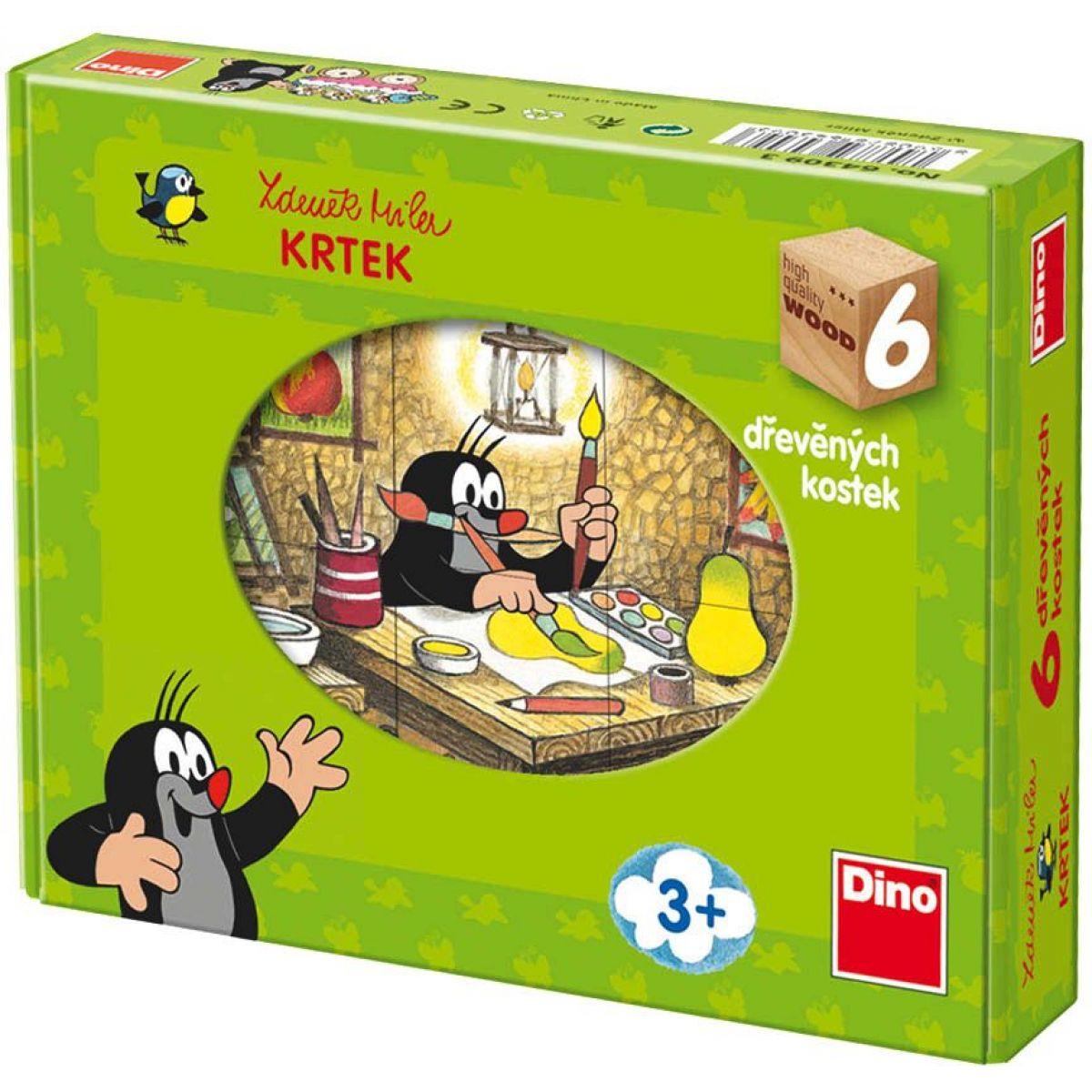 Dino Kostky dřevěné kubus Krtek a přátelé 6ks
