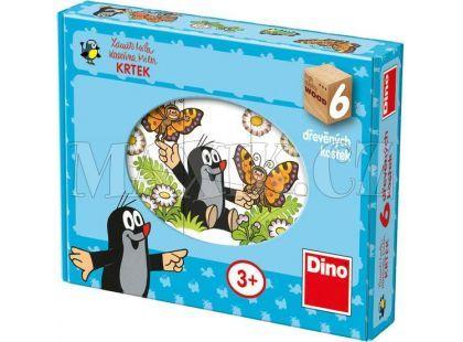 Dino Kostky dřevěné kubus Veselý krtek 6ks
