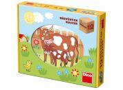 Dino Kostky kubus Domácí zvířátka dřevo 12ks