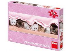 Dino Koťátka pod dekou panoramic puzzle 150 dílků