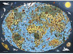 Dino kreslená mapa světa 1000 puzzle