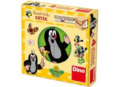 Dino Krteček dřevěné kostky 4 ks